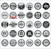 Colección de insignias negras al por menor en un fondo blanco Fotografía de archivo