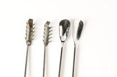 colección de instrumentos del laboratorio del tejido vegetal en el backg blanco Imagenes de archivo
