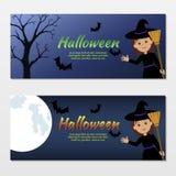 Colección de invitaciones Halloween con una bruja linda Fotografía de archivo libre de regalías
