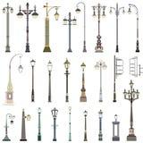 Colección de lámparas de calle Imágenes de archivo libres de regalías