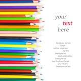 Colección de lápices y de texto coloreados Foto de archivo libre de regalías