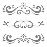 Colección de líneas caligráficas ornamentos o divisores Fotografía de archivo libre de regalías