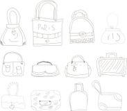 Colección de l dibujado mano bolsos Imágenes de archivo libres de regalías