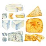 Colección de la acuarela de diversos tipos de queso Libre Illustration