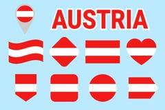 Colección de la bandera de Austria Banderas austríacas del vector fijadas Iconos aislados plano Colores tradicionales Web, página libre illustration