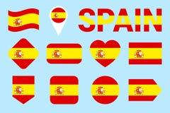 Colección de la bandera de España Banderas españolas fijadas Iconos aislados plano del vector con nombre del estado Web, páginas  stock de ilustración