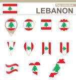Colección de la bandera de Líbano stock de ilustración