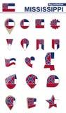 Colección de la bandera de Mississippi Sistema grande para el diseño ilustración del vector