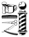 Colección de la barbería Fotos de archivo libres de regalías
