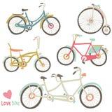 Colección de la bici del vintage stock de ilustración