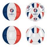 Colección 2016 de la bola de Francia del euro de la UEFA Fotos de archivo libres de regalías
