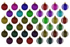 Colección de la bola de la Navidad en el fondo blanco Foto de archivo libre de regalías