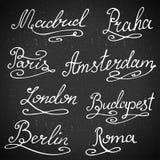 Colección de la caligrafía nombres de la ciudad de las Mano-letras La ciudad simboliza el ejemplo del vector Fotografía de archivo libre de regalías