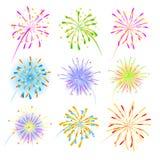 Colección de la celebración de los fuegos artificiales para el día de fiesta Foto de archivo libre de regalías