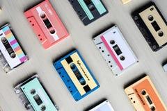 Colección de la cinta de casete audio retra de la música 80s Foto de archivo