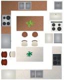 Colección de la cocina del plan de piso ilustración del vector