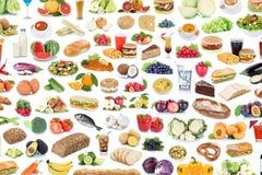 Colección de la consumición sana f del collage de la comida y del fondo de la bebida foto de archivo libre de regalías