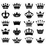 Colección de la corona - silueta del vector Fotos de archivo