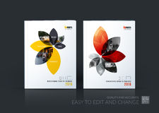 Colección de la disposición de la plantilla del folleto, informe anual del diseño de la cubierta, imagen de archivo
