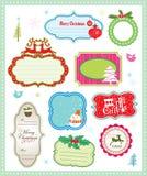 Colección de la etiqueta del regalo de la Navidad Fotografía de archivo libre de regalías