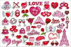 Colección de la etiqueta engomada para el objeto de Valentine Love Fotos de archivo libres de regalías