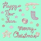 Colección de la Feliz Año Nuevo y de la Feliz Navidad Fotos de archivo