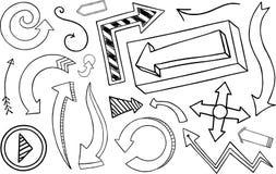 Colección de la flecha del Doodle Imagenes de archivo