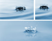 Colección de la foto de descensos que bajan en el agua Salpica del agua Foto de archivo