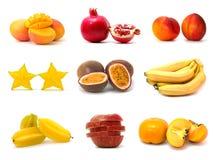 Colección de la fruta aislada en blanco Imagen de archivo