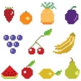 Colección de la fruta del arte del pixel Imágenes de archivo libres de regalías