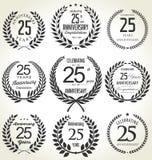 Colección de la guirnalda del laurel del aniversario, 25 años fotos de archivo libres de regalías