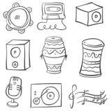 Colección de la herramienta de la música del garabato diversa stock de ilustración