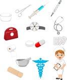 Colección de la historieta de aparatos médicos con la enfermera Imagen de archivo libre de regalías