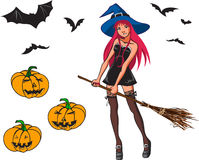 Colección de la historieta de Halloween con la bruja, el palo y p ilustración del vector