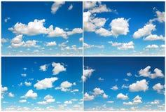 Colección de la hora solar del cielo Cielo azul con las nubes mullidas como backgrou Imagenes de archivo