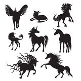 Colección de la imagen de los unicornios de la silueta del vector Foto de archivo