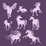 Colección de la imagen de los unicornios del vector Fotografía de archivo libre de regalías