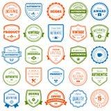 Colección de la insignia y de la etiqueta Fotografía de archivo