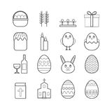 Colección de la línea iconos del vector de pascua para el diseño web Fotografía de archivo libre de regalías