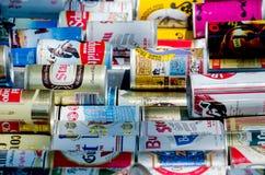 Colección de la lata de cerveza Imagen de archivo