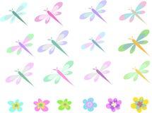 Colección de la libélula y de las flores Imágenes de archivo libres de regalías