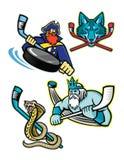Colección de la mascota de los deportes del hockey sobre hielo ilustración del vector