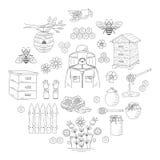 Colección de la miel del vector con los elementos de la apicultura Fotografía de archivo