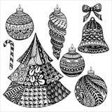 Colección de la Navidad de Zentangle Fotos de archivo