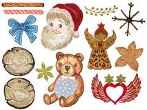 Colección de la Navidad del aguazo de la acuarela de elementos decorativos del invierno pintados a mano libre illustration