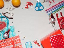 Colección de la Navidad, regalos y ornamentos decorativos Fotos de archivo libres de regalías