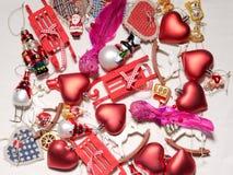 Colección de la Navidad, regalos y ornamentos decorativos Fotos de archivo