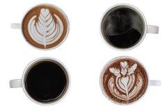 Colección de la opinión superior del surtido de la taza de café aislada en el fondo blanco Fotografía de archivo