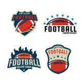 Colección de la plantilla del logotipo del fútbol americano Fotos de archivo libres de regalías