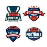 Colección de la plantilla del logotipo del fútbol americano Foto de archivo libre de regalías